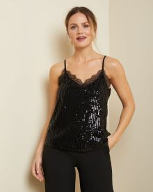 Lace-trimmed sequin cami