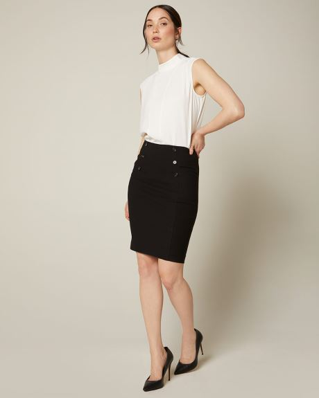 Buttoned high-waist Pencil City Skirt