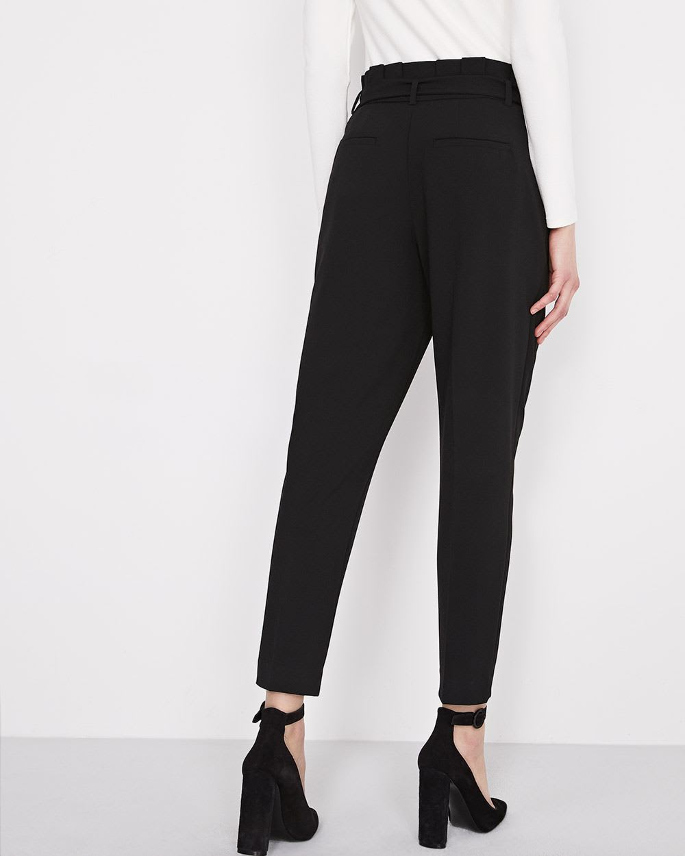Black Everyday Stretch Paperbag Pant