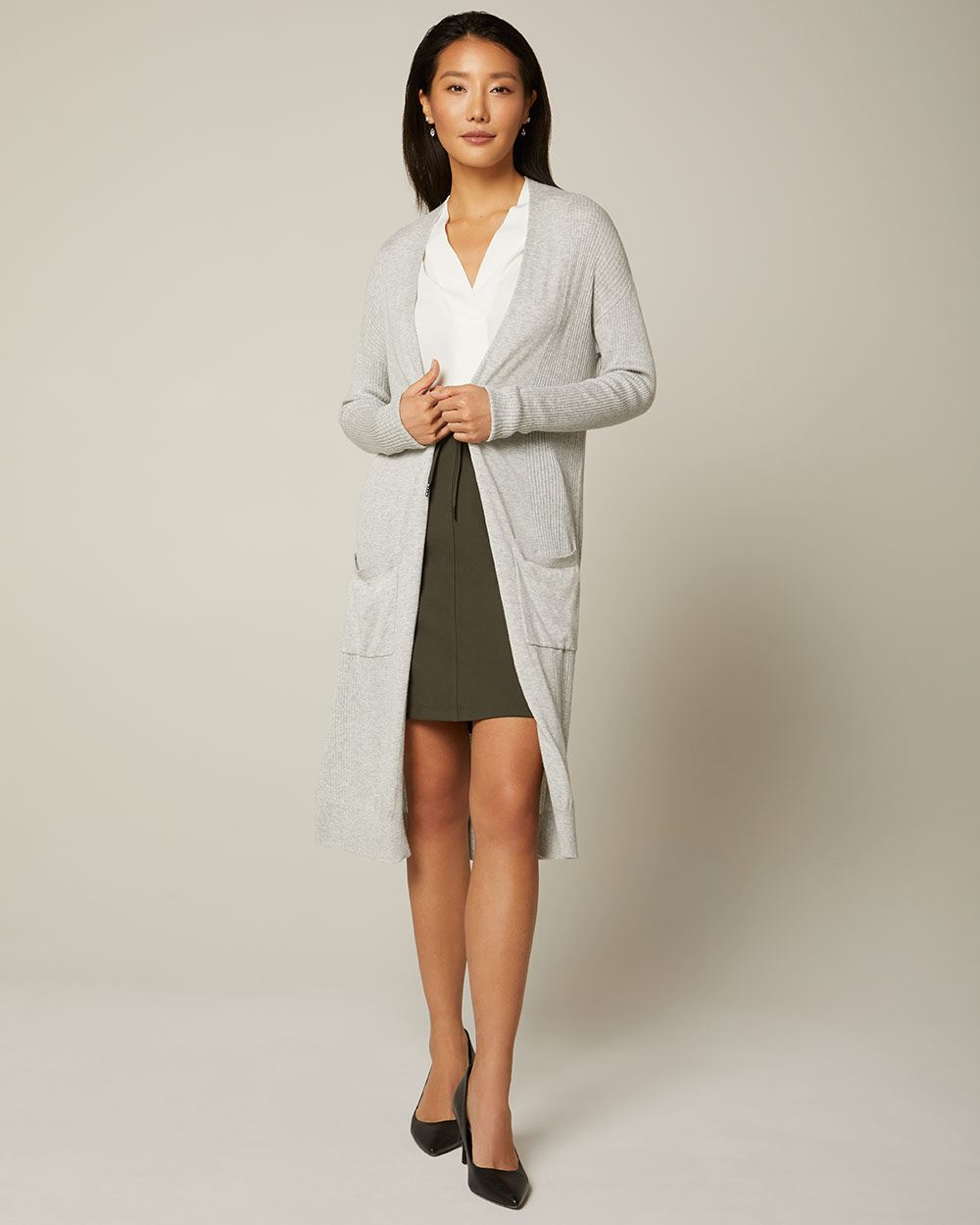 C&G Ribbed Cashmere-like long open-front cardigan