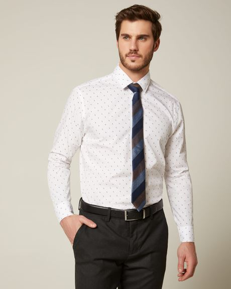 Athletic Fit two-tone geo dress shirt