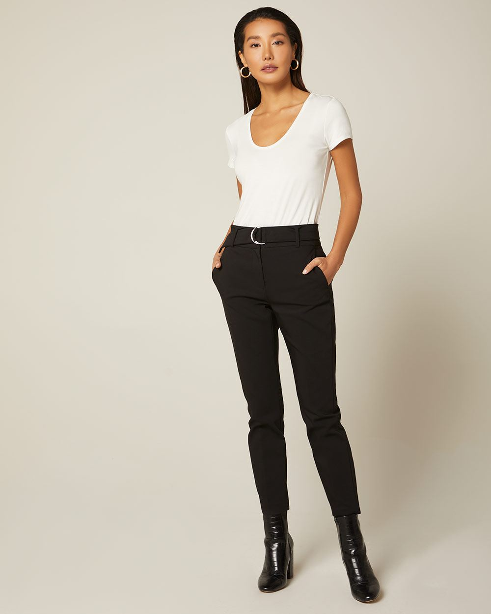 Belted high-waist Slim Leg Ankle Pant