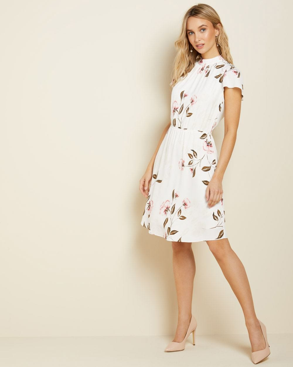 Floral short sleeve dress with mock-neck
