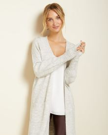open-front Spongy knit cardigan with detailed cuffs