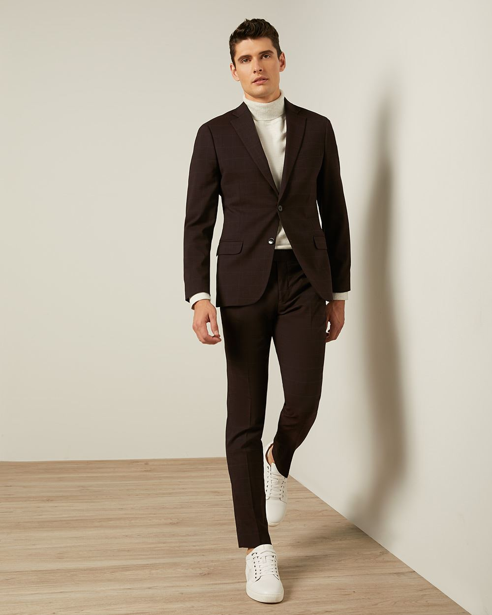 Slim Fit Port Check Suit Pant