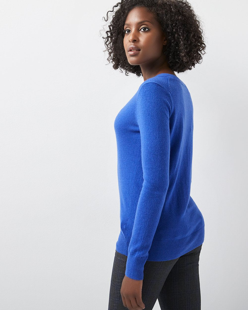 Cashmere-like V-neck sweater