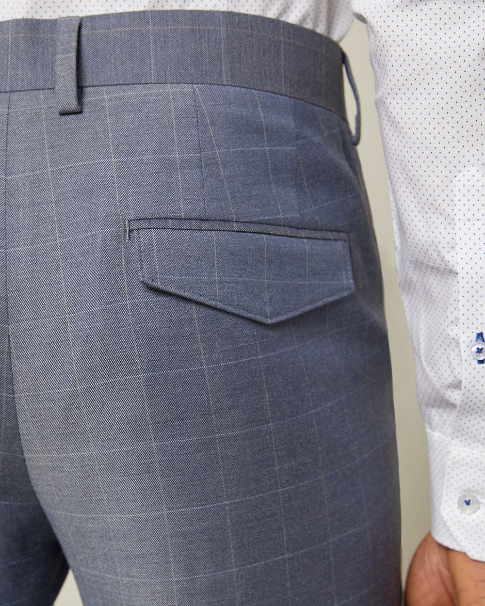 Slim fit Blue chambray windowpane City Pant