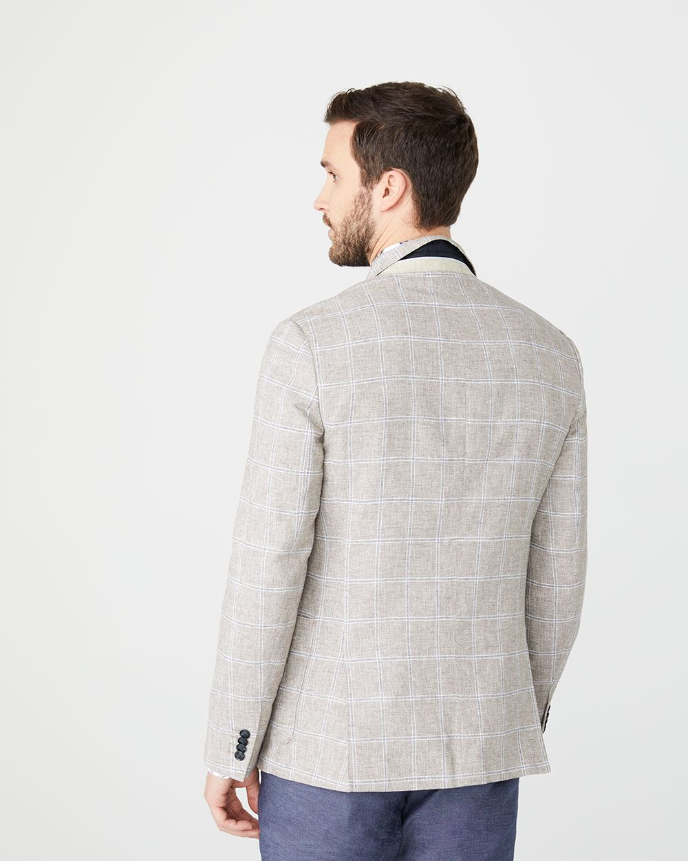 Tailored fit windowpane linen-blend blazer