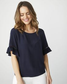 Navy crepe blouse with ruffled sleeves