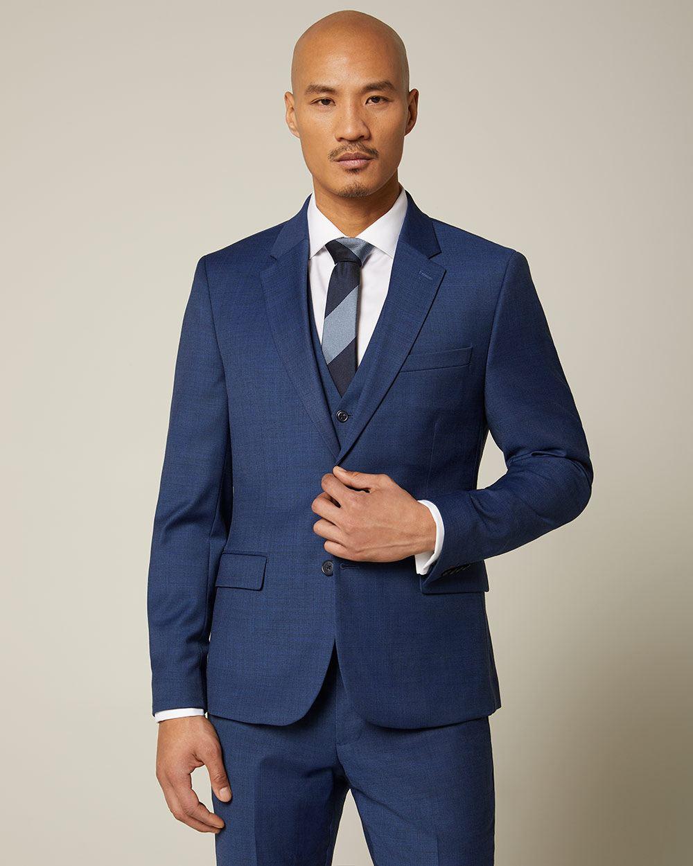 Essential Slim Fit blue wool-blend suit Blazer   RW&CO.