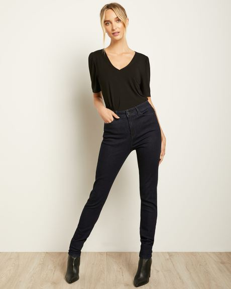 V-Neck Elbow-length Puffy Sleeve T-Shirt
