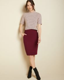 Buttoned high-waist pencil skirt