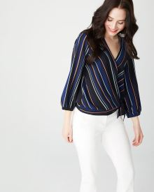 Crepe wrap blouse with tied hem