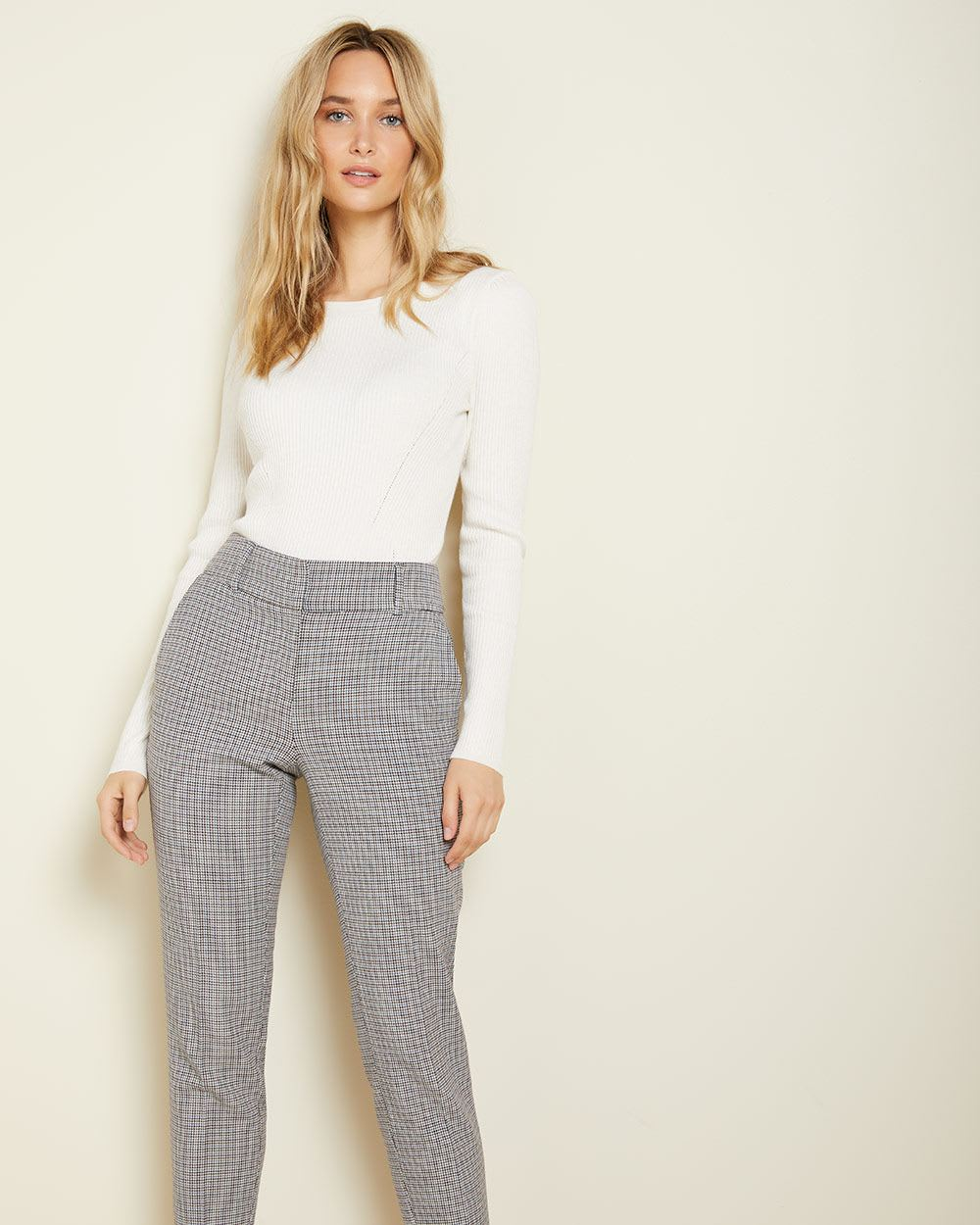 Houndstooth Curvy fit Slim Leg Ankle Pant