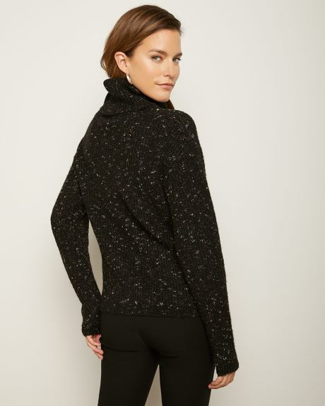 C&G Speckled Knit Cowl-Neck Sweater