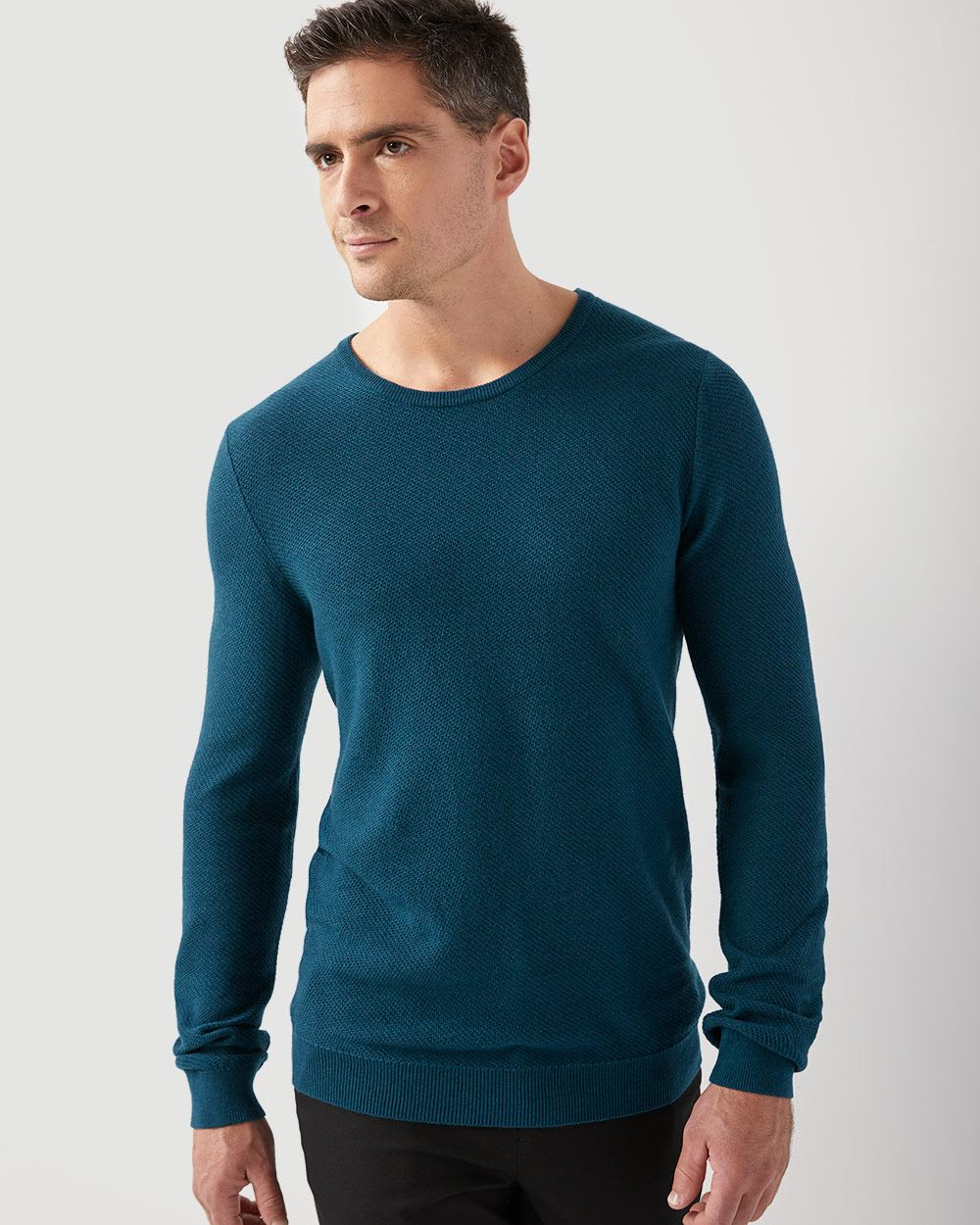 Diagonal-stitch crew-neck sweater