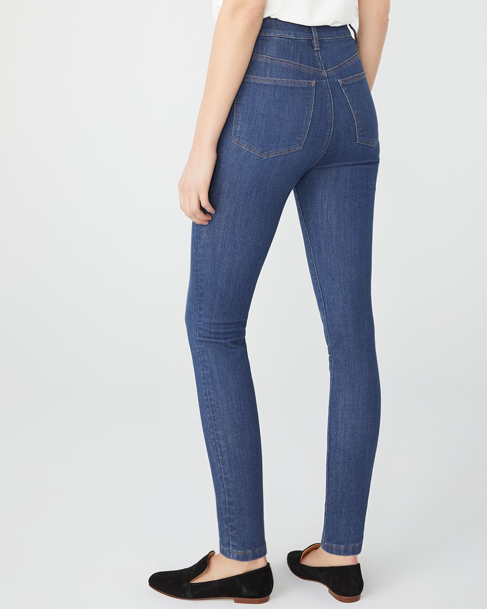 Ultra high-waist Sculpting skinny jeans in medium wash
