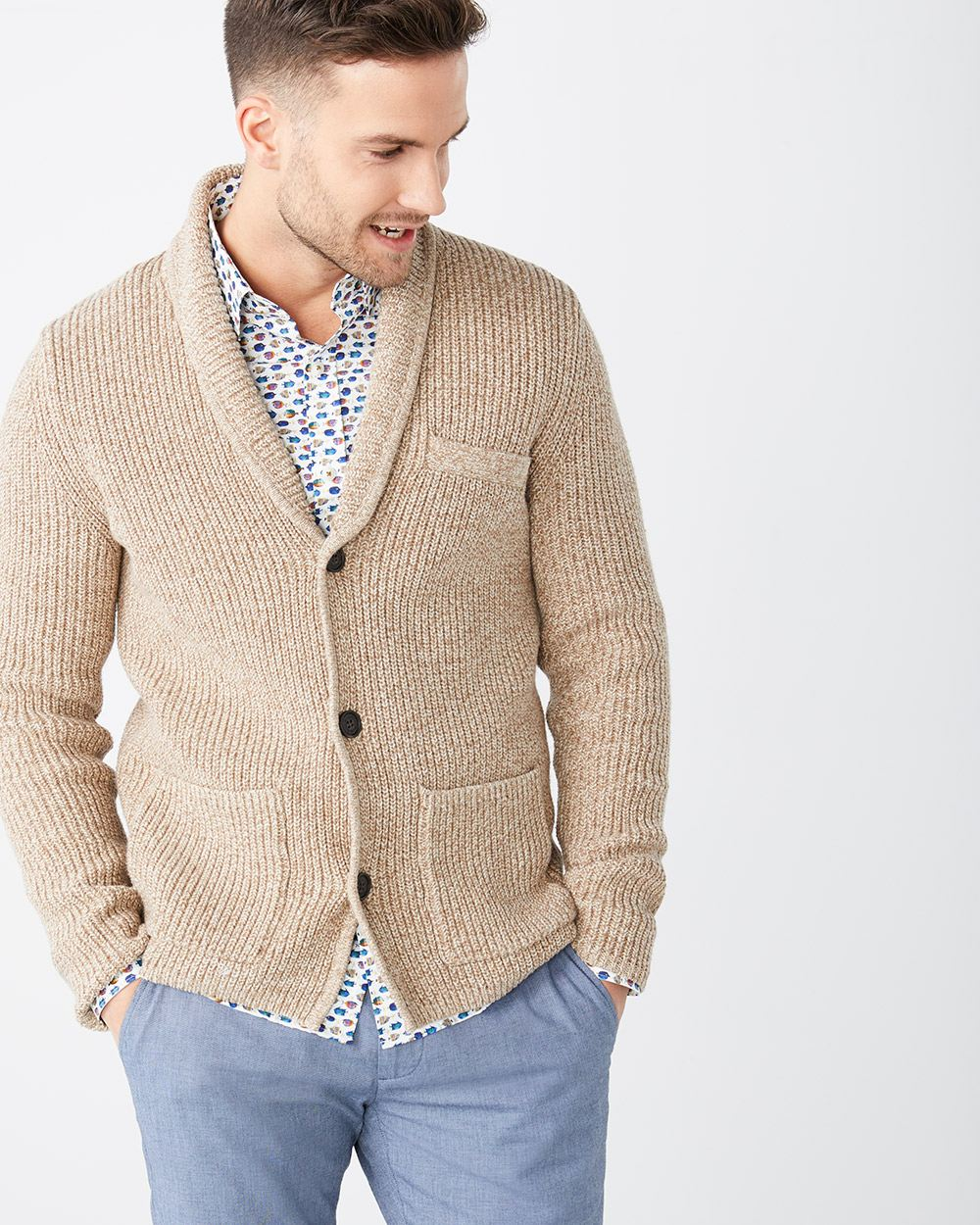 Ribbed-stitch shawl collar cardigan