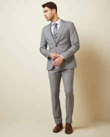 Essential Slim Fit stretch light grey suit Pant - 30''