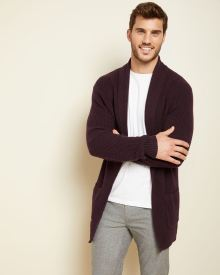 Open-front shawl collar cardigan