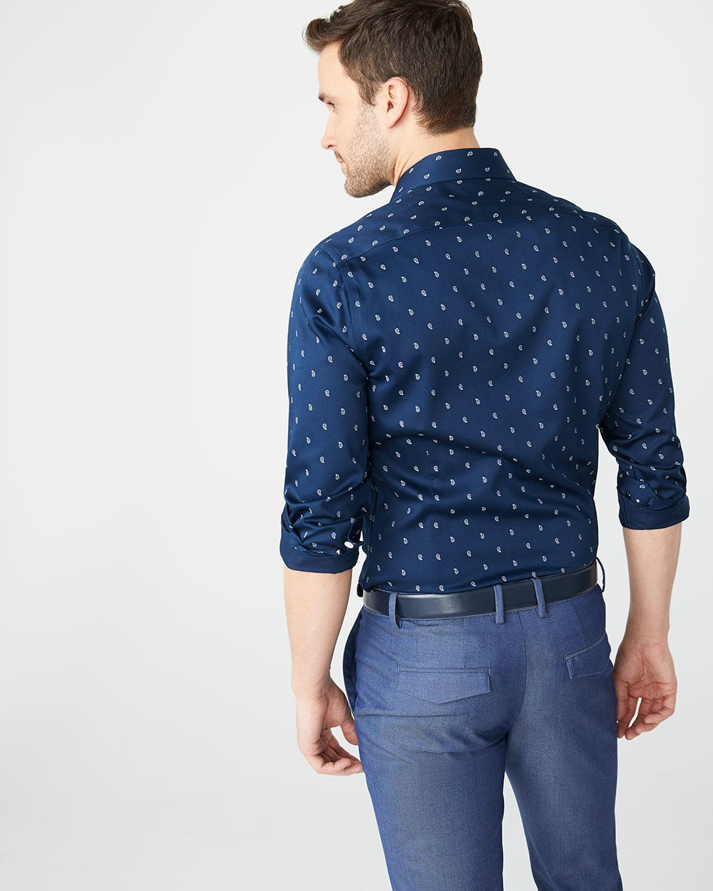 Slim Fit navy paisley dress shirt