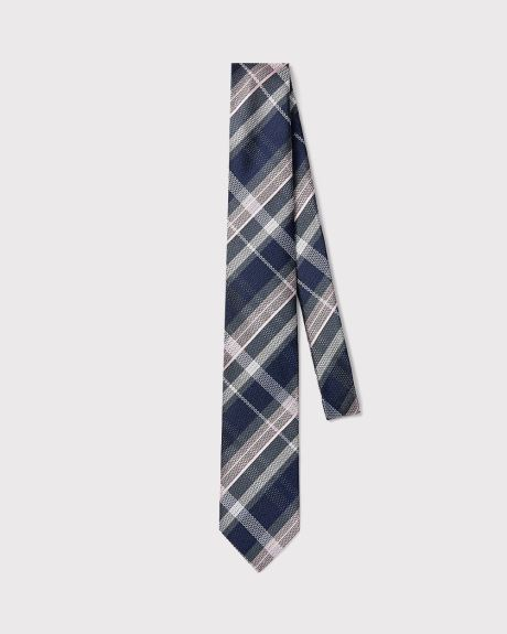 Wide blue and pink check tie