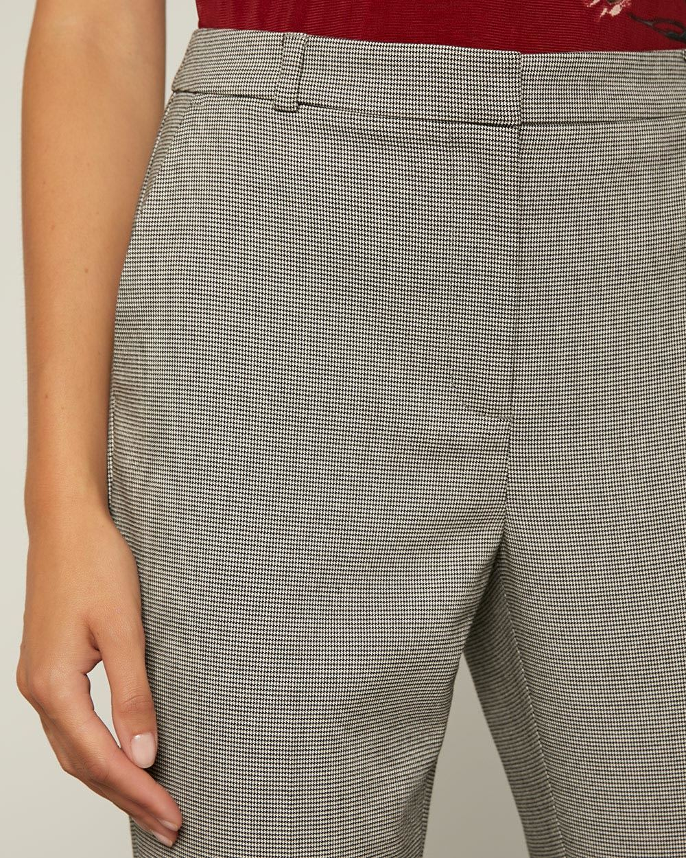 Houndstooth Signature Fit Slim Leg Ankle Pant