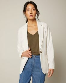 Long Loose-fit slub blazer