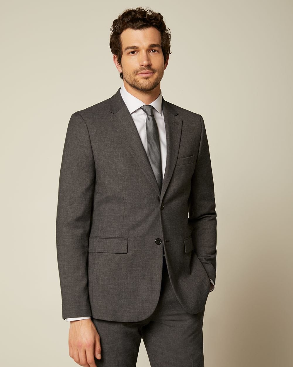 Essential Tailored Fit Dark Grey suit Blazer - Short