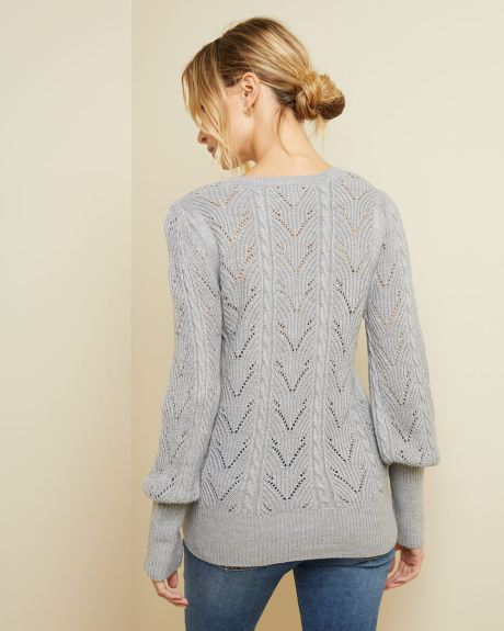 Puffy sleeve pointelle sweater