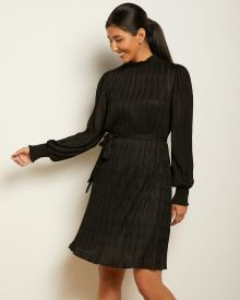 Long Sleeve Lace Dress with Mock-neck