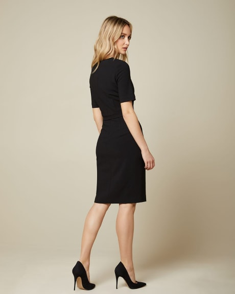 Belted short sleeve dress