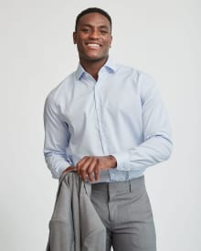 Regular Fit Marled Blue Check Dress Shirt