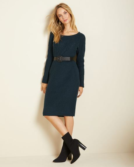 Long sleeve pointelle-stitch sweater dress