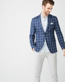 Slim fit windowpane check linen blazer