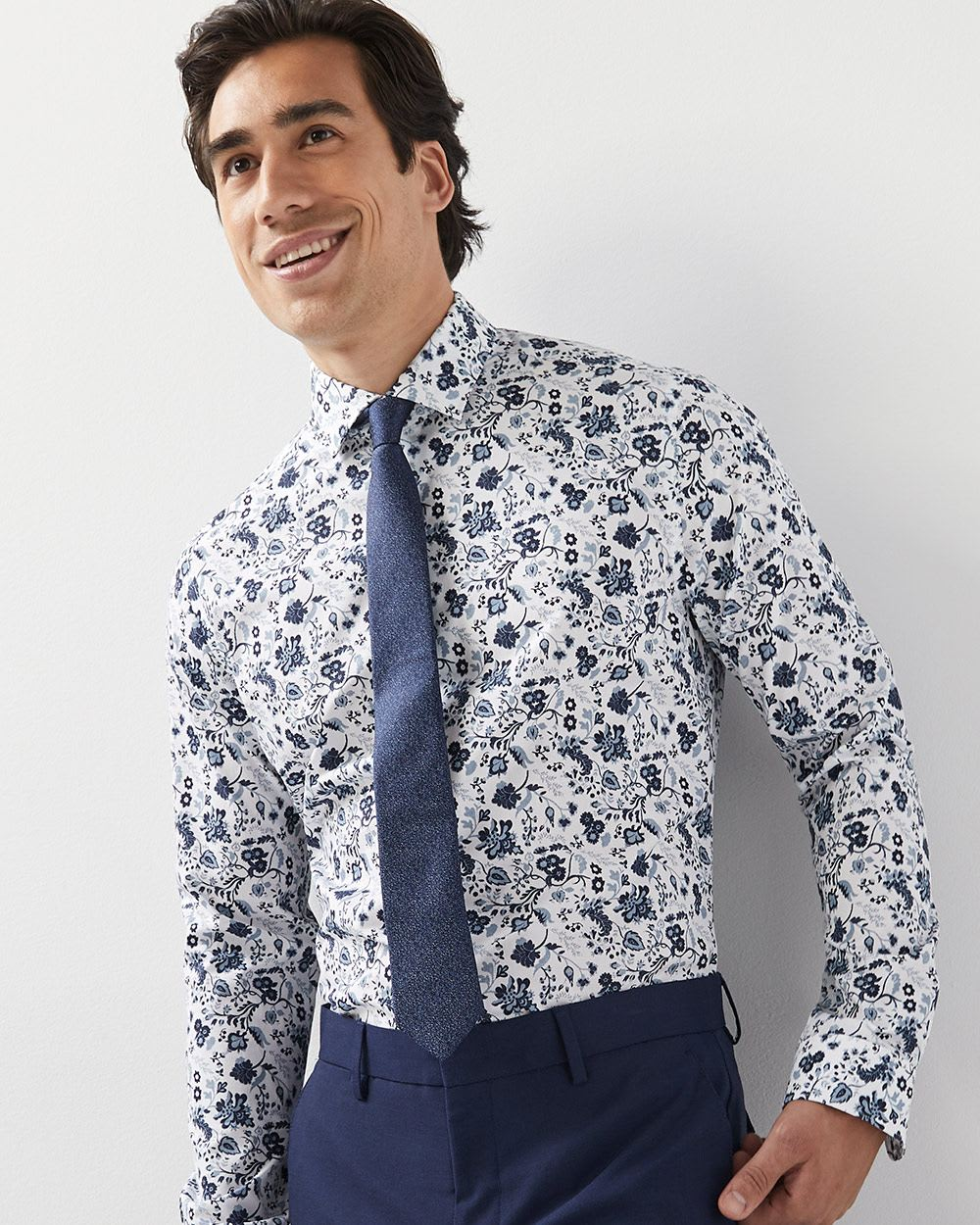 Athletic Fit Blue Floral Dress Shirt Rwco