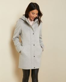 Hooded wool-blend parka
