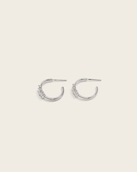 Small Rhinestone Hoop Earrings