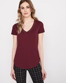C&G V-neck cotton and modal t-shirt