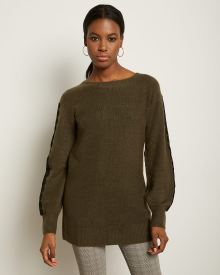 Lace-Trimmed Sleeve Spongy Tunic Sweater