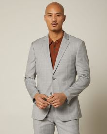 Slim fit grey windowpane suit blazer