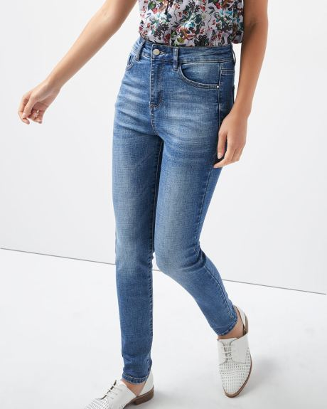 High-rise skinny Medium blue wash jeans with shape refining pockets