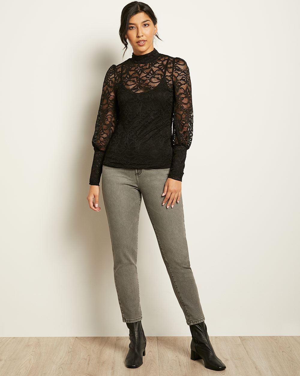 Allover Lace Puffy Sleeve Top