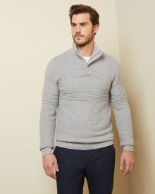 Zipped mock-neck Textured sweater