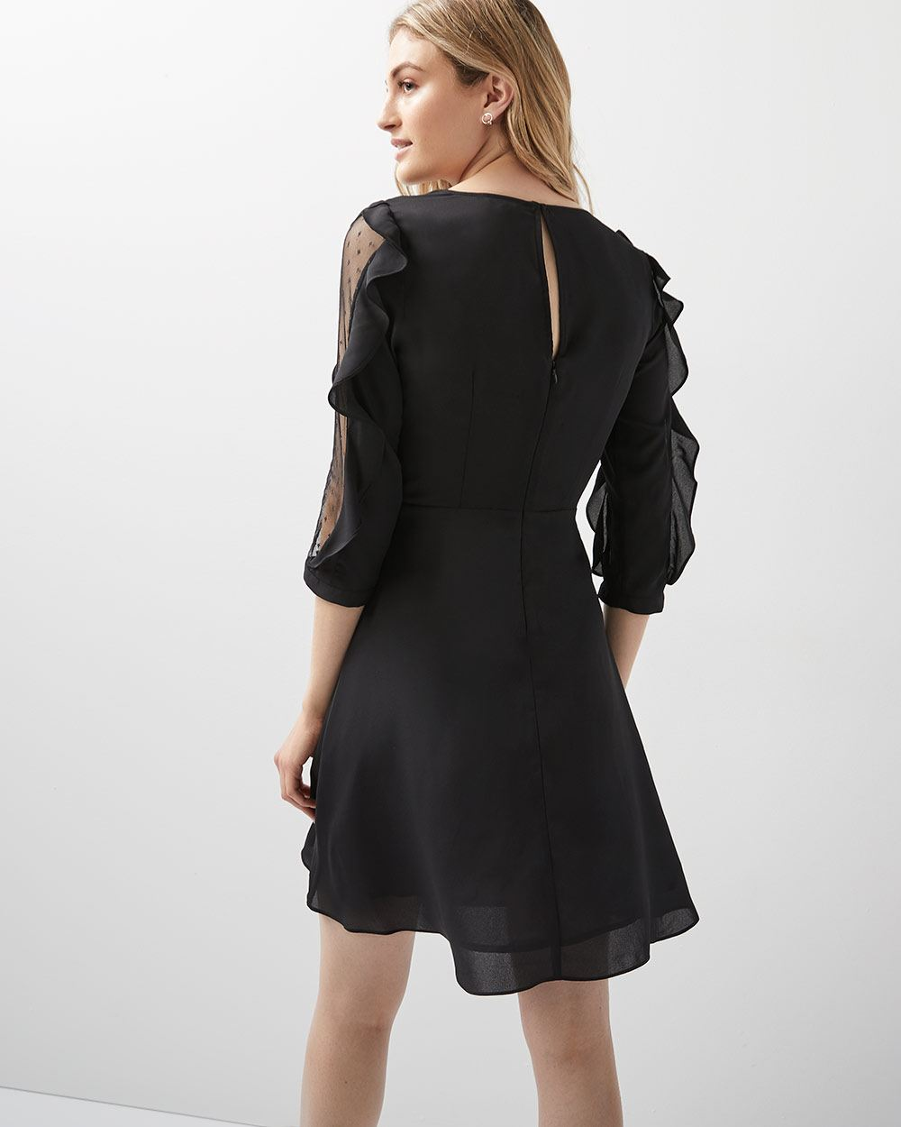 Fit And Flare Dress With Sheer Ruffled Sleeves