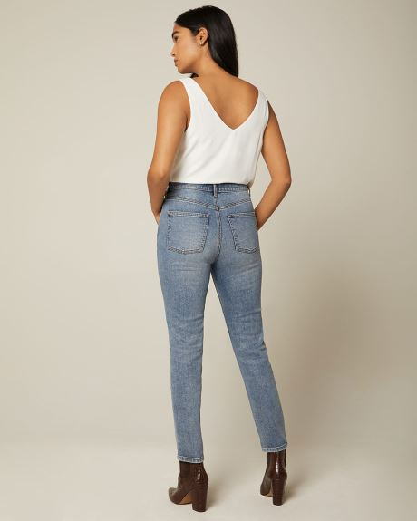 High-waisted slim straight jeans - 28''