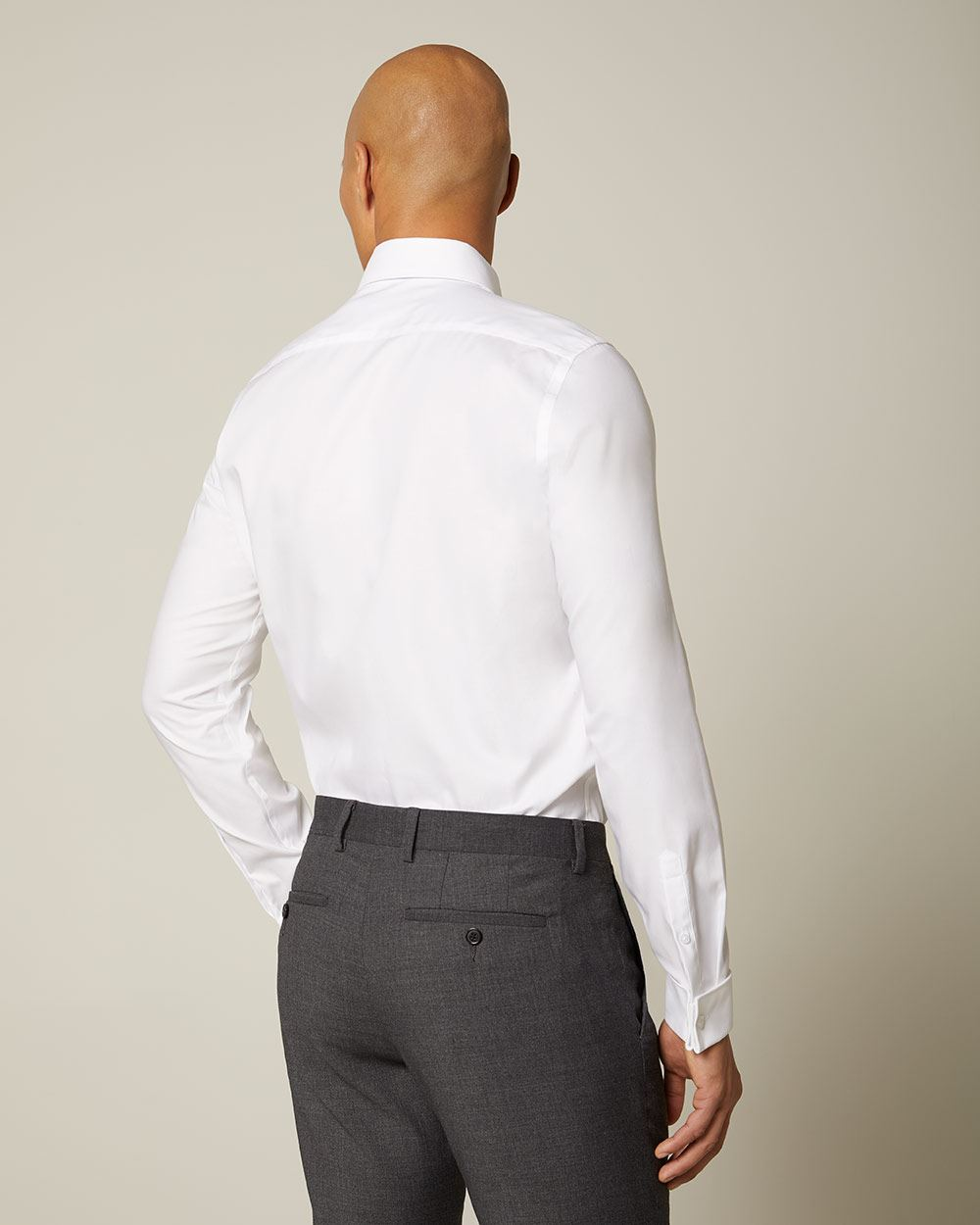 b8afb791a0af Gallery Source · White French Cuff Dress Shirt With Collar Bar Joe Maloy