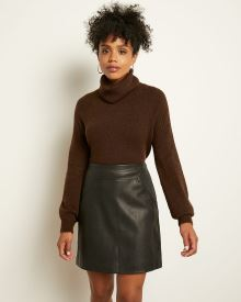 Rib-trimmed Spongy Cowl-neck Sweater