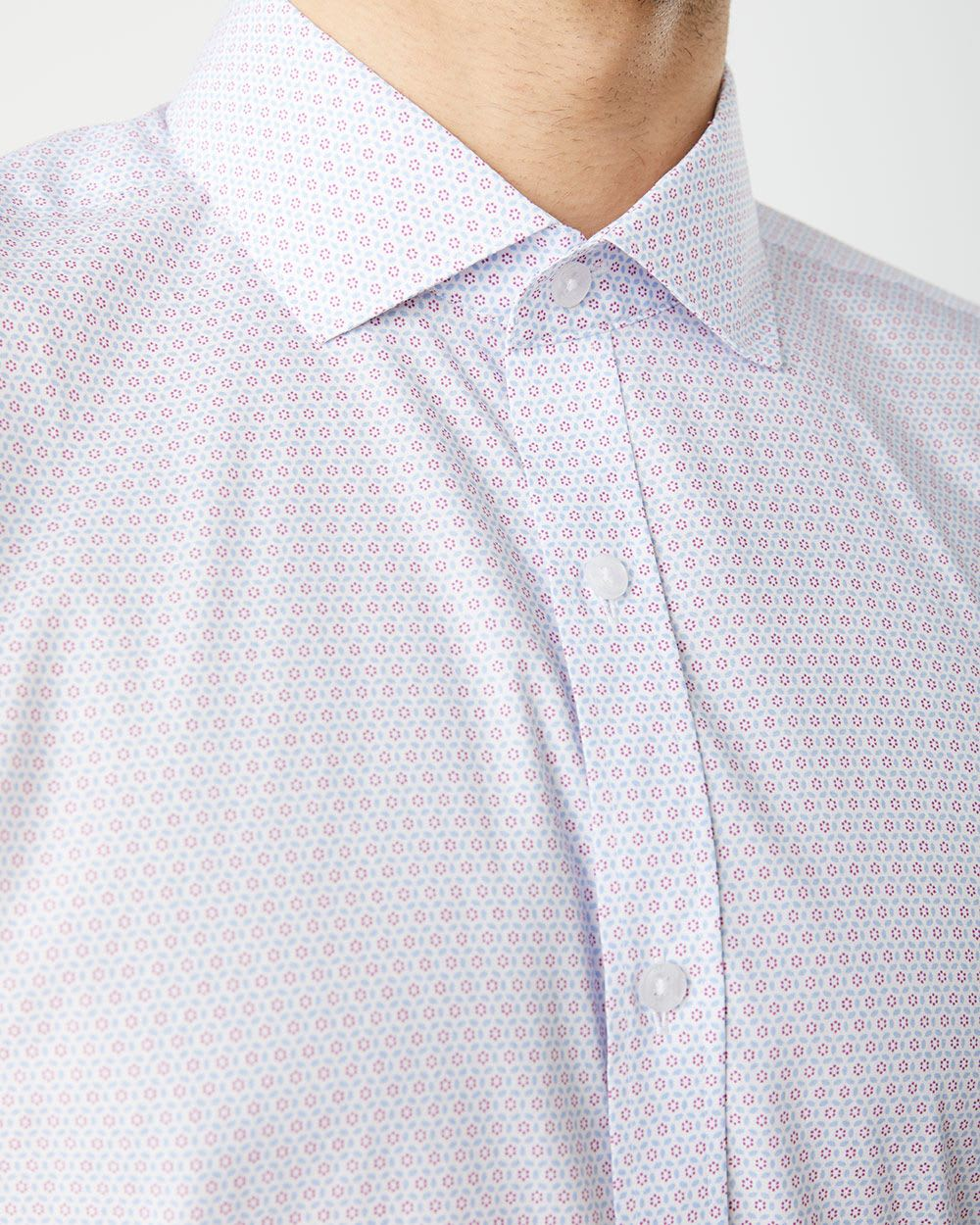 Athletic Fit two-tone geo pattern dress shirt