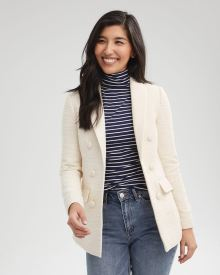 Loose Fit Faux Double-breasted Textured Blazer